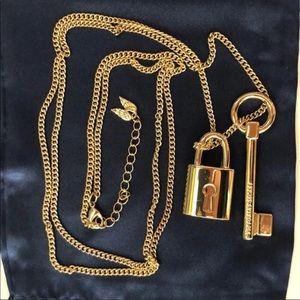 Victoria Secret Gold Lock & Key Pendant Necklace